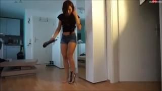 German hot blonde milf's explosion footjob