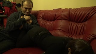 Jagoda lies on stomach and tickling her feet legs and hips- sample