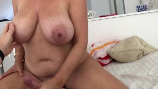 Mature 49 Years old with Huge massive tits givning handjob