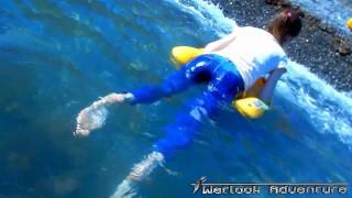 Bright Blue Jeans Wetlook Russian Girl Beach