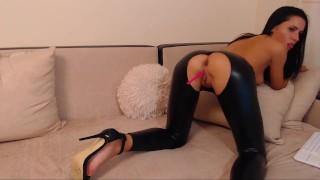 want_all Camgirl Dildo wet Look Leather Leggings