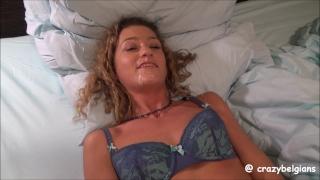 She masturbates just after facial cumshot