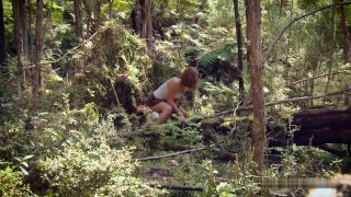 Young hairy brunette is in harmony with nature
