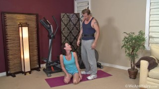Hairy Bush MILF has Vigorous Exercise! Super Detail in High Definition!
