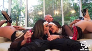 Very sinful threesome, priest and two nuns free HD porn and sex videos