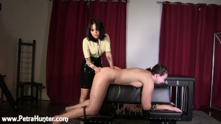 Submissive wife gets spanked by Mistress while husband watches