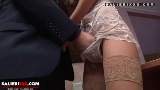 Tenny Girl get Fucked in Tan Stockings