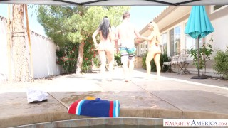 double hot fuck at pool!