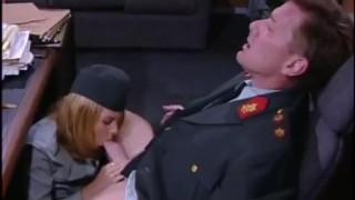 Cum in mouth under the desk