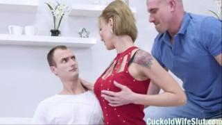 Hot redhead MILF humiliates her boyfriend and fucks hard her lover