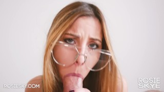 Girl in Glasses Makes Sensual Blowjob with Eye Contact and Brings to Orgasm