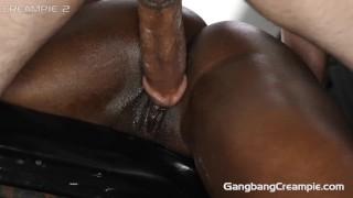 Crazy nasty young gangbang slut gets creampied